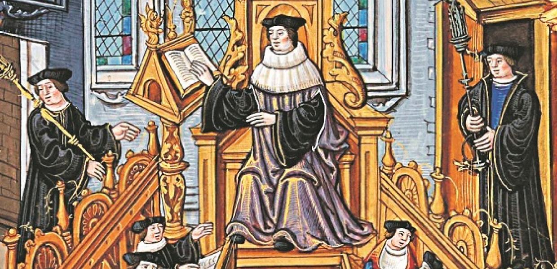 Μεσαιωνική εικονογράφηση με διδάκτορες πανεπιστημίου να διαβάζουν και να συζητούν σε συνεδρίαση.